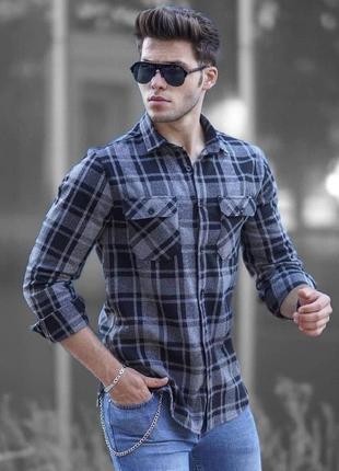 Рубашка байковая мужская в клетку / сорочка байкова чоловіча в...