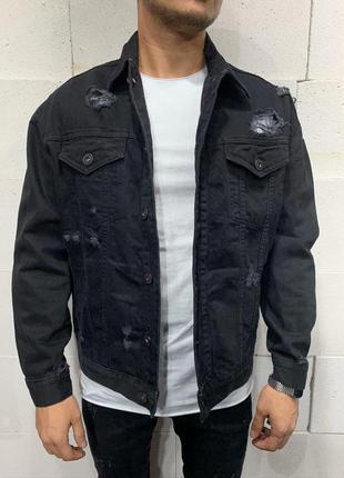 Джинсовый пиджак мужской с принтом / джинсовий піджак чоловічи...