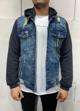 Джинсовый пиджак мужской с капюшоном / джинсовий піджак чолові...