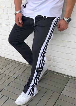 Спортивные штаны мужские adidas на кнопках / спортивні штани ч...