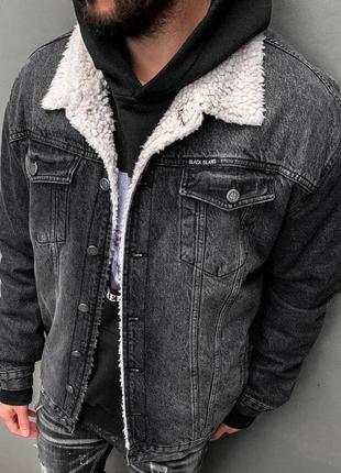 Джинсовый пиджак мужской овчина / джинсовий піджак чоловічий о...