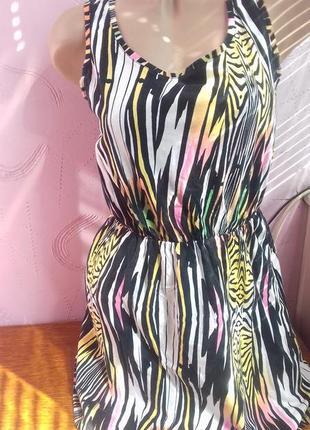Платье сарафон хлопок хб разноцветное в вертикальную полоску и...