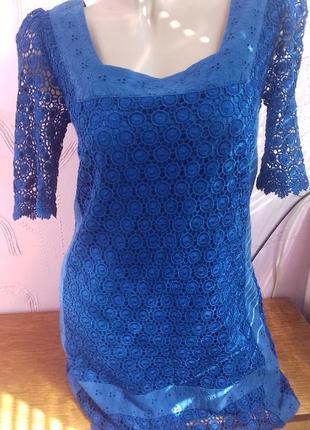 Новое синее шелковое платье шелк с подкладкой р.с s 8/36 marks...
