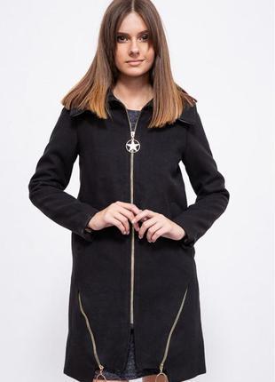 Кашемировое женское пальто черного цвета осень-весна