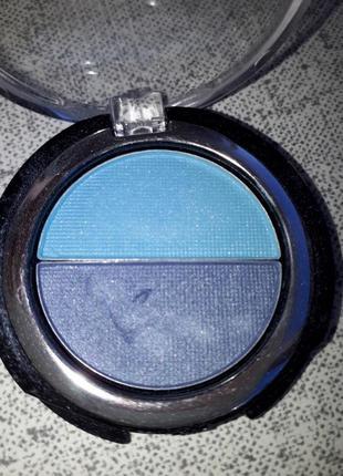 Двухцветные голубые бирюзовые темно синие сатиновые тени для г...