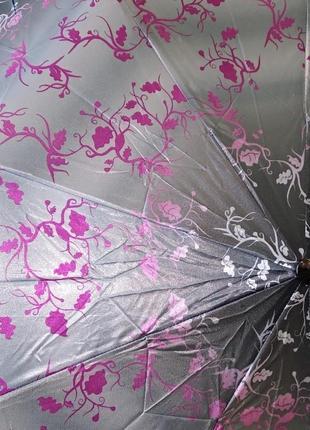 Женский складной зонт полуавтомат universal 539-2 серый, принт...
