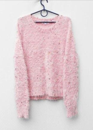 Осенний зимний розовый свитер травка с длинным рукавом