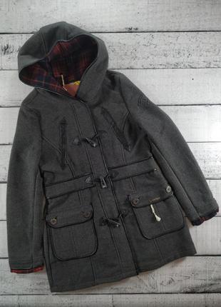 Пальто с капюшоном серое дафлкоат rock angel