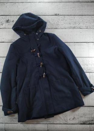 Пальто синее с капюшоном дафлкоат tom tailor