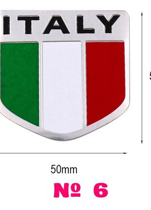 Наклейка на авто или мото Флаг № 6 Италии Алюминиевая