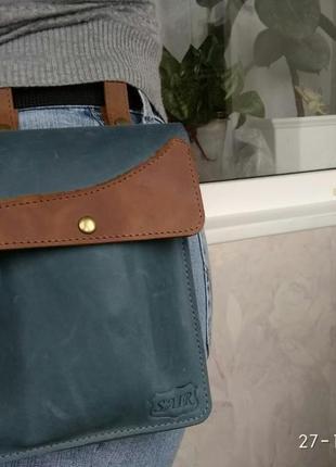 Ременная сумка из натуральной кожи Крейзи Хорс
