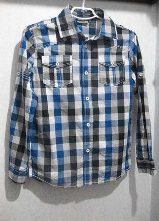 Рубашка детская подростковая мальчик в клетку серая синяя