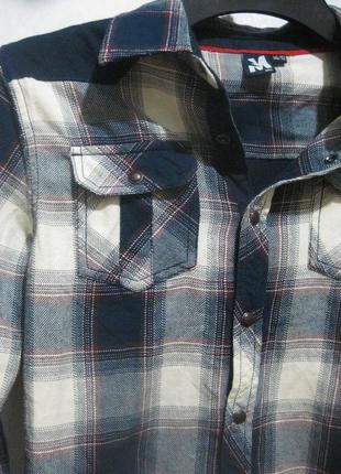 Рубашка детская для мальчика mtc в клетку синя белая коттон хл...