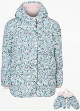Теплая куртка для девочки от george + варежки   флис внутри си...