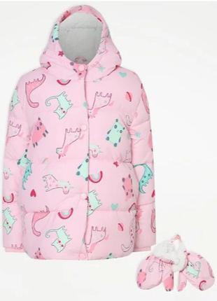 Брендовая теплая зимняя куртка с флисовой подкладкой и силикон...