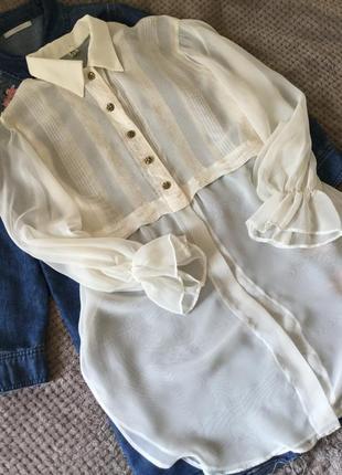 Романтичная прозрачная блузка молочного цвета размер 12