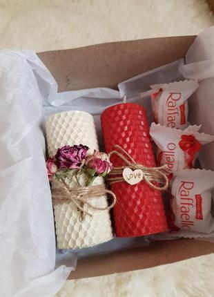 Подарочный набор свечей из вощины подарок на день валентина на...