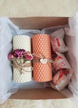 Подарочный набор свечей из вощины подарок на день валентина по...