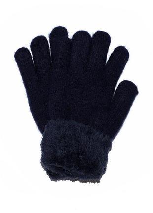 Теплые вязаные перчатки из шерстяной пряжи с меховыми манжетам...