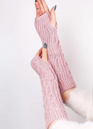 Длинные вязаные перчатки митенки без пальцев розового цвета
