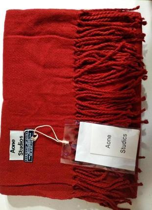 Теплый зимний шарф палантин 100% шерсть ламы красный