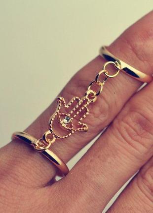 Двойное кольцо с хамсой распродажа остатков