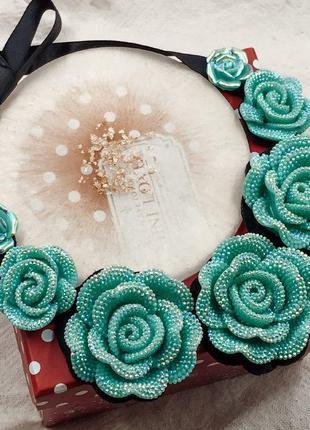 Ожерелье-воротник с голубыми цветами розами большая распродажа!