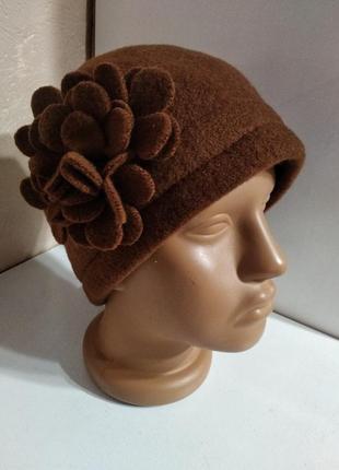 Шикарная женская коричневая фетровая шляпа tonak чехия