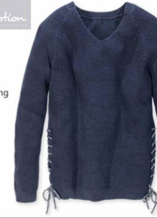 Женский вязаный свитер полувер хлопок демисезон осень зима blu...