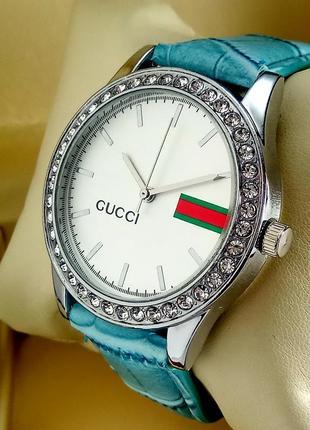 Женские кварцевые наручные часы Gucci на бирюзовом кожаном ремешк