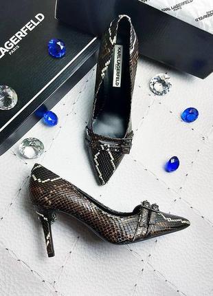 Karl lagerfeld оригинал кожаные туфли лодочки с принтом под ре...