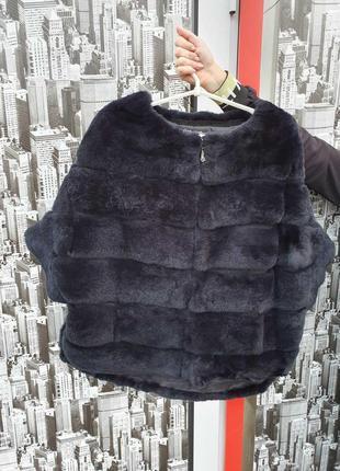 Шуба свитер натуральный кролик рекс шиншила