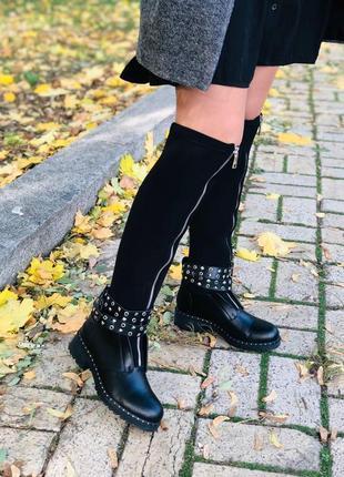 Женские зимние черные сапоги, кожа и стрейч