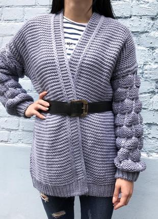 Кардиган женский вязаный с поясом (голубой)