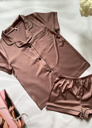 Шовкова піжама сорочка+шорти