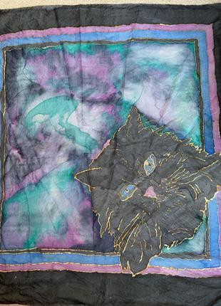Шелковый платок шелк натуральный ручная роспись «кот»