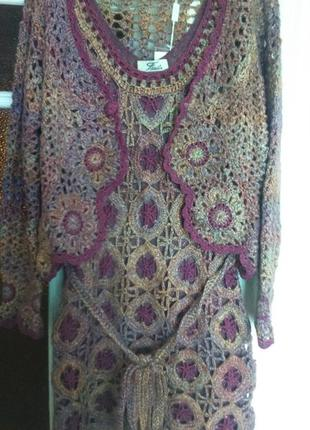 Шикарное вязаное тёплое платье размер 46