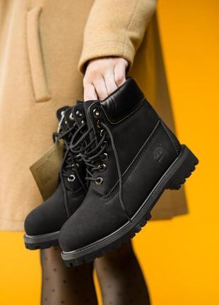 Демисезонные мужские \женские чёрные кожаные ботинки тимберлен...