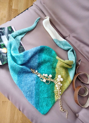 Вязаный шарф бактус косынка платок ручная работа оригинальный
