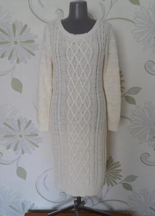 Платье теплое вязаное трикотажное миди зимнее шерстяное н&м