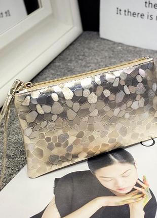 Клатч кошелек косметичка сумка женская gold на молнии с петлей...