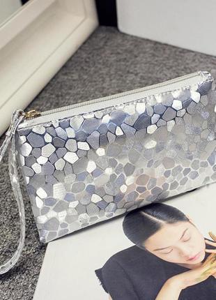 Клатч кошелек косметичка сумка женская silver на молнии с петл...
