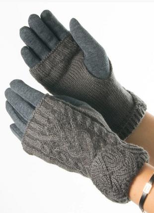 Перчатки текстильные c вязаной митенкой размер: s, m, l