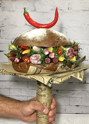 Мужской букет Киев, мясной букет, букет-бургер