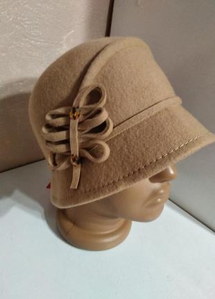 Шикарная женская фетровая шляпа украина шляпка 100% шерсть