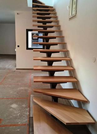 Сходи; Stairs; Лестницы. Балясини і підсходинки (дубові)