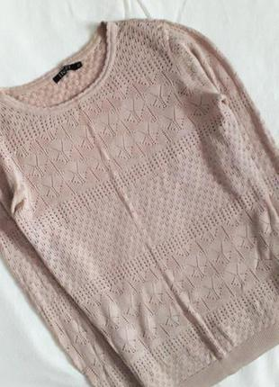 Пудрова кофта блузка з мереживом