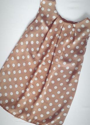 Бежева нюдова блузка в горох горошок