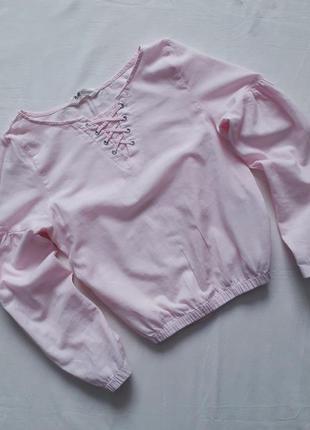 Котонова блузка на резинці з рукавом фонар