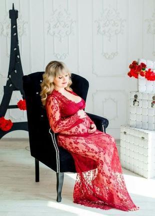 Бордовое кружевное платье/пеньюар для фотосессии беременности